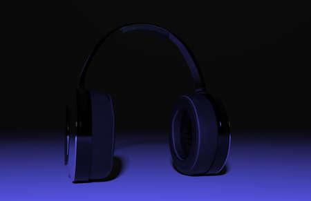 Headphones. Black background. Green ground. 3D rendering.