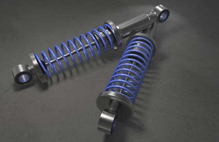 shock absorber: Shock absorber on background. 3D renderng. Stock Photo