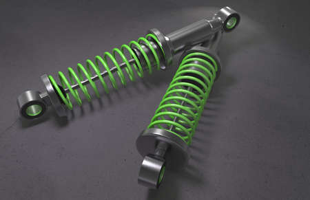 alloy wheel: Shock absorber on background. 3D renderng. Stock Photo
