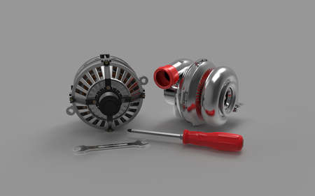 Car alternator with turbine isolated on a background. 3D rendering. Stock Photo