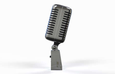 metal grid: Steel microphone isolated on a white background. Old microphone. Vintage microphone. 3D rendering.