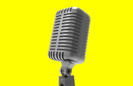 metal grid: Steel microphone isolated on a background. Old microphone. Vintage microphone. 3D rendering.