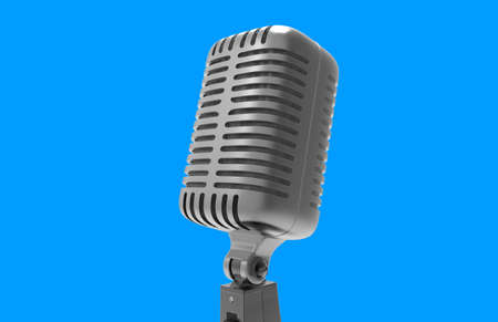 voices: Steel microphone isolated on a background. Old microphone. Vintage microphone. 3D rendering.