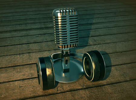 vocals: Steel microphone isolated on wooden background. Old microphone. Vintage microphone. 3D rendering.