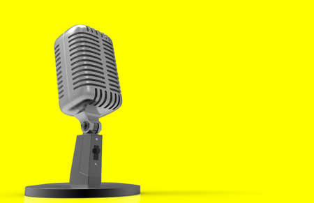 Steel microphone isolated on a background. Old microphone. Vintage microphone. 3D rendering.