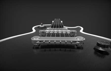 Close up of guitar. Electic guitar. 3D rendering. Stock Photo