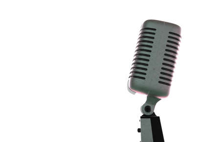 vocals: Steel microphone isolated on a white background. Old microphone. Vintage microphone. 3D rendering.