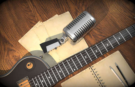 the resonator: Guitar and microphone with notebook for chords on wooden background. Guitar (electric). Microphone.3D rendering.
