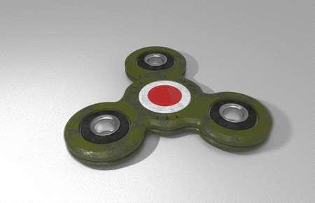 kamikaze: Spinner. Toy. Sign of Japanese kamikaze. White background. 3D rendering.