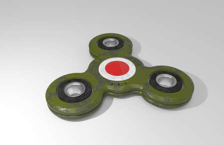 Spinner. Toy. Sign of Japanese kamikaze. White background. 3D rendering.