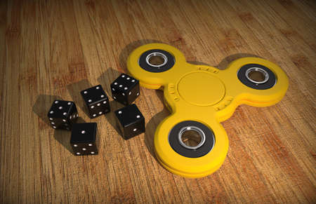 plaything: Spinner. Toy. Dice. Wooden background. 3D rendering.