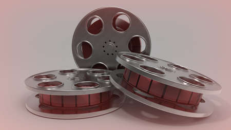 Film roll placed on background. Movie. 3D rendering.