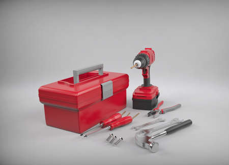 Tool box with tools. Tools for house. 3D rendering. Stock Photo