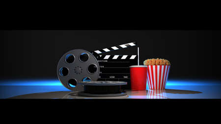 Movie industry clapperboard and film reel. 3D rendering.