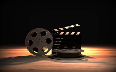 Movie industry clapperboard and film reel. 3D rendering.