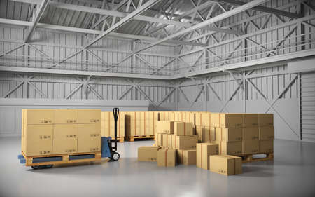 moving truck: Large trucking warehouse with cargo (warehouse, hangar, industrial). 3D rendering.