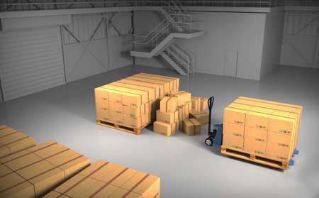 dirty room: Large trucking warehouse with cargo (warehouse, hangar, industrial). 3D rendering.