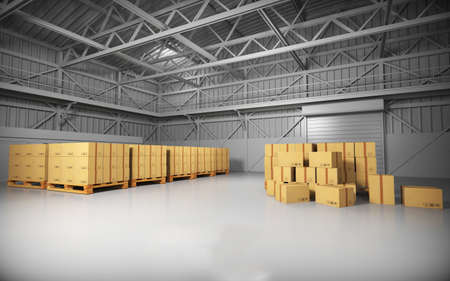 warehouse building: Large trucking warehouse with cargo (warehouse, hangar, industrial). 3D rendering.