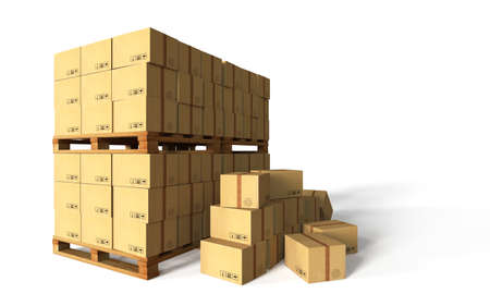 empty warehouse: Cardboard boxes, delivery packaging set. 3D rendering.