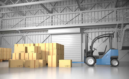 shutter: Large trucking warehouse with cargo (warehouse, hangar, industrial). 3D rendering.