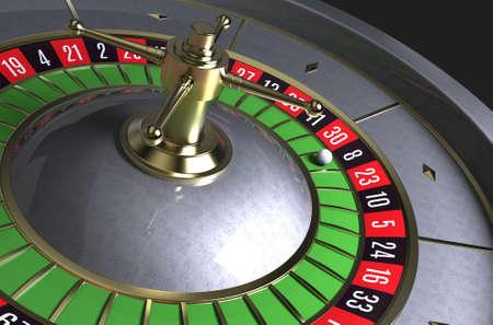 Roulette wheel. Roulette desk. Black background. 3D rendering.