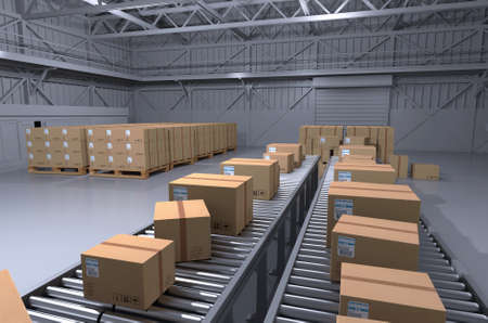 Warehouse boxes. Boxes in warehouse. 3D rendering Archivio Fotografico