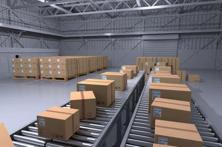Scatole di magazzino scatole in magazzino rendering 3d Archivio Fotografico - 89281185