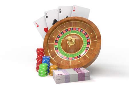 Concepto de ruleta Tarjetas, dados, dinero, monedas. Representación 3D Foto de archivo - 89281194