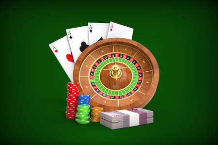 Roulette concept. Cards, dices, money, coins. 3D rendering.