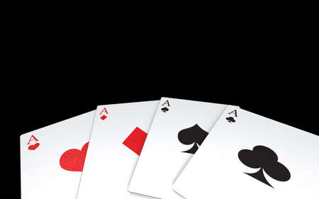 Aces cards for poker game. 3D rendering