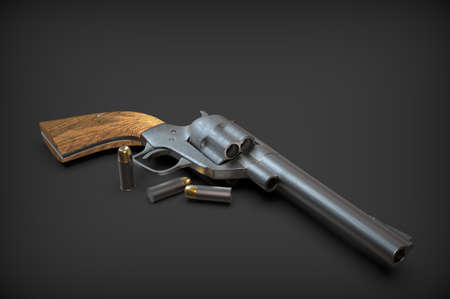 Revolver with a wooden handle isolated on a background. Gun. 3D rendering.