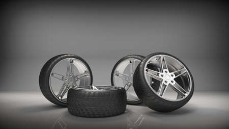 Sport racing tires. Tire with sport car rims. 3D rendering Stock Photo