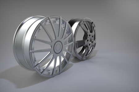 Sport racing rims. Gray background. 3D rendering