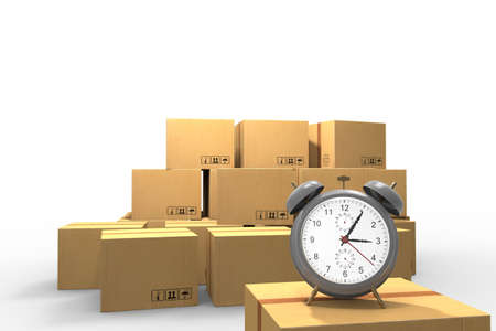 Express, just in time and high speed packages delivery concept, cardboard boxes and alarm clock isolated on white background. 3D rendering