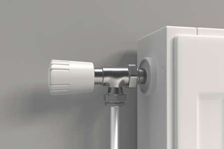 Adjustable radiator thermostat which controls the heat. 3D rendering.