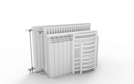 Different kind of radiators isolated on white background. 3D rendering. Zdjęcie Seryjne