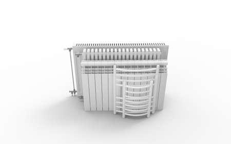 Different kind of radiators isolated on white background. 3D rendering. Stock Photo
