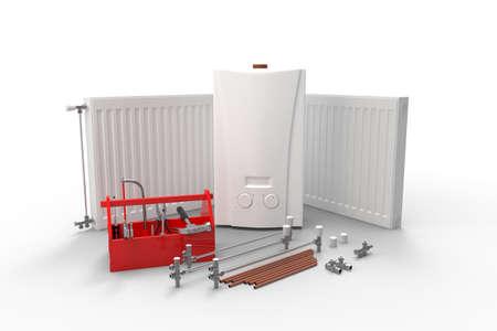 Manutenzione dell'impianto di riscaldamento o concetto di ripetizione. Caldaia a gas, radiatori e cassetta degli attrezzi con strumenti. Rendering 3D Archivio Fotografico - 93710066