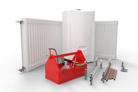 Heating system servicing or repearing concept. Gas boiler, radiators and toolbox with tools.3D rendering