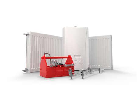 Manutenzione dell'impianto di riscaldamento o concetto di ripetizione. Caldaia a gas, radiatori e cassetta degli attrezzi con strumenti. Rendering 3D