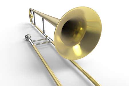 トロンボーン。楽器3D レンダリング。
