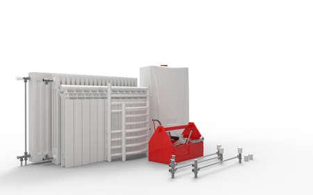 Manutenzione dell'impianto di riscaldamento o concetto di ripetizione. Caldaia a gas, radiatori e cassetta degli attrezzi con strumenti. Rendering 3D Archivio Fotografico - 93769556