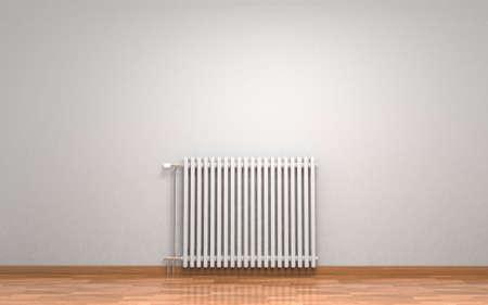 Radiatore bianco di riscaldamento isolato su fondo bianco. Rendering 3D