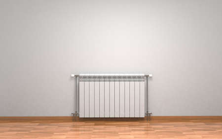 Heating white radiator isolated on white background. 3D rendering