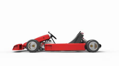 Go kart car for racing. Racing karting. Race car. 3D rendering.