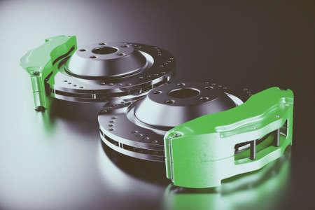 Disk brake. Brakes for car. 3D rendering. Stock Photo