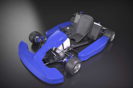 Karting. Race car for kids. 3D rendering.