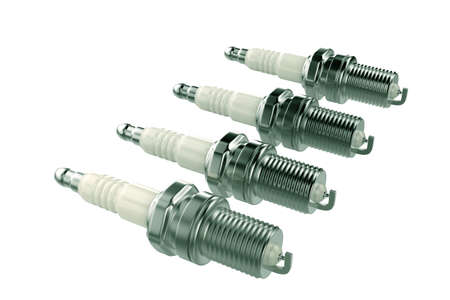 Spark plugs. 3D rendering isolated on white background 스톡 콘텐츠