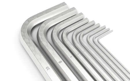 Allen bolt. Wrench key. 3D rendering.