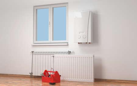 Radiador en habitación. Sistema de calefacción. Representación 3D.